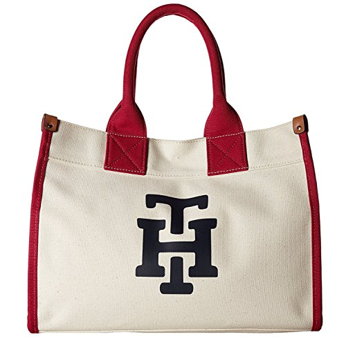Tommy Hilfiger Women's Canvas TH Print Medium Tote Natural/Raspberry 1 Handbag
