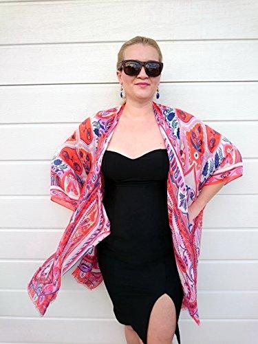 Paisley Kimono Robe, Orange Bathing Suit Cover Up, Silk Duster Jacket ()