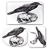3 Piece Bath Mat Rug Set,Scary,Bathroom Non-Slip Floor Mat,Scary-Movies-Theme-Crow-Bird-Sitting-on-a-Human-Old-Skull-Sketchy-Image-Decorative,Pedestal Rug + Lid Toilet Cover + Bath Mat,Charcoal-Grey-W