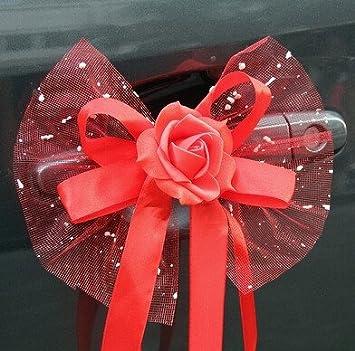 6pcs Hochzeit Blumen Bouquet Autodekoration Blume Auto Spiegel Und