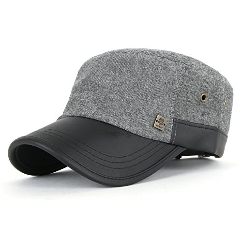 ililily Faux Leather Brim Military Cap Denim Cotton Adjustable Strap Army Cap(cadet-568-2) - Grey Suede Print