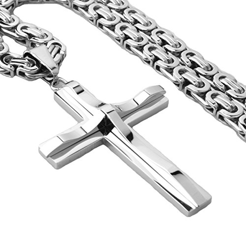 Men's Silver 2 Layer Stainless Steel Cross Pendant 6mm Flat Byzantine Chain Necklace,20-34