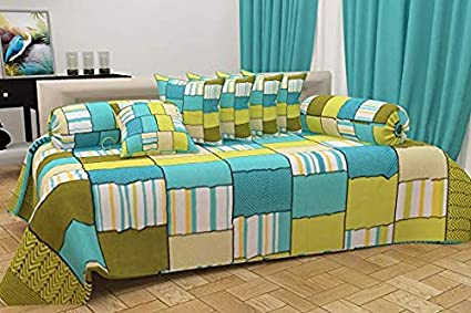 CHOICE HOMES™ Cotton DIWAN Set Printed 8 Piece of Combo 5 Cousins and 2 Bolster with Single BEDSHEET