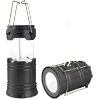 LED Camping Lantern, Solar and Rechargeable Lantern Flashlight Collapsible and Portable Light for Daily/Camp/Hiking/Night Fishing/Emergency/Hurricanes/Storm(Black, 1 Pack)