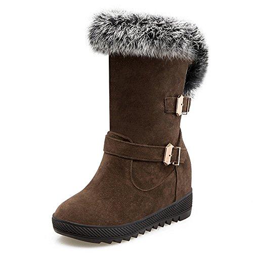 Fashion Heel Moda Talón Plataforma de talón de cuña de las mujeres punta redonda, mitad de la pantorrilla botas marrón