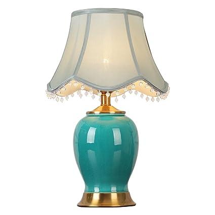 SHENG SHI Lámpara de Mesa de cerámica Azul, Pantalla con ...