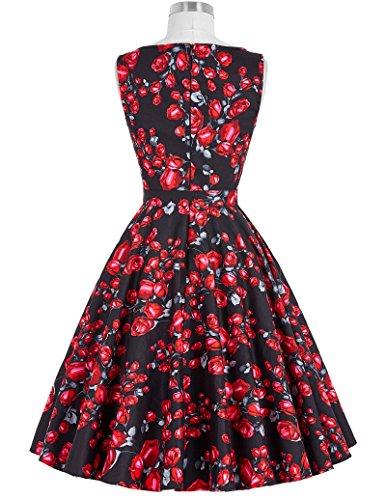 Mujeres Floral Poque® Swing Belle Cócteles 50 Años 21 Vestidos Vintage nbsp;Fiesta De de bp02 5Tqw1p14
