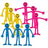 Fiddle Toys - 9 x Mixed Smiley Bendy Men Fiddle Kit by StressCHECK - Sensory Toys - Stress Relief Toys & ADHD Toys