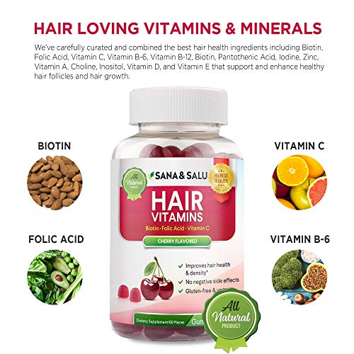 Hair Growth Vitamins Gummies with Biotin, Vegan, Gluten-Free,...