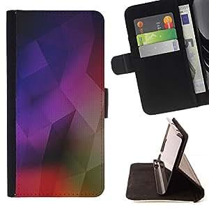 For HTC One M7 Case , Estructura geométrica Arte Moderno colorido- la tarjeta de Crédito Slots PU Funda de cuero Monedero caso cubierta de piel