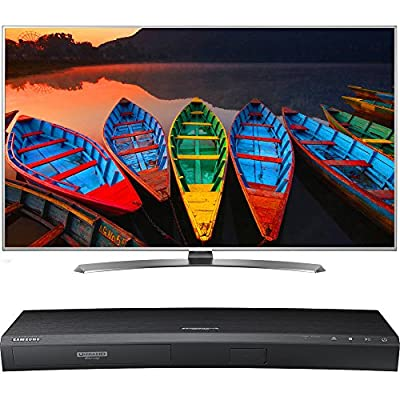 """LG 65"""" Super HDR 4K Upscaler UHD Smart LED TV webOS 3.0 TruMotion 240Hz (65UH7700) with Samsung 3D Wi-Fi 4K Ultra HD Blu-ray Disc Player"""