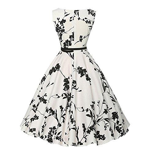Rockabilly Party Cocktail Tea Dress CQDY Retro Dress 04 Floral Belt with Swing HcSqEEawyB
