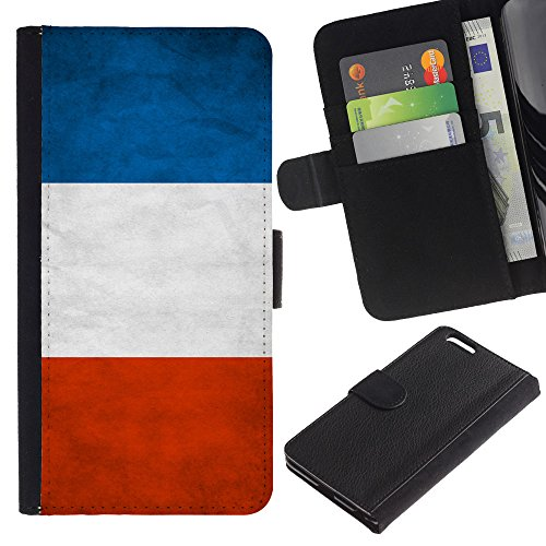 EuroCase - Apple Iphone 6 PLUS 5.5 - France Grunge Flag - Cuir PU Coverture Shell Armure Coque Coq Cas Etui Housse Case Cover