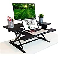 Premium Hardwood Adjustable Black Standing Desk | Deep Keyboard Tray Fits Laptops | 35 Inch Wide Stand Up Desk | Supports Dual Monitors and Monitor Stands