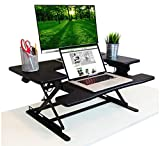 PREMIUM Adjustable Height Black Standing Desk | Deep Keyboard Tray Fits Laptops | 35 Inch Wide Solid Hardwood Stand Up Desk | Supports Dual Monitors and Monitor Stands