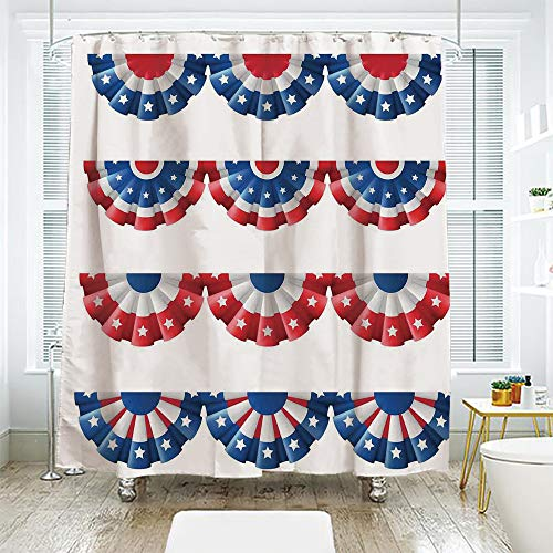 scocici DIY Bathroom Curtain Personality Privacy Convenience,American Flag Decor,Flag Round Bunting Election Ornament Politic Union Ribbon Event Pattern,Blue Red,108.2