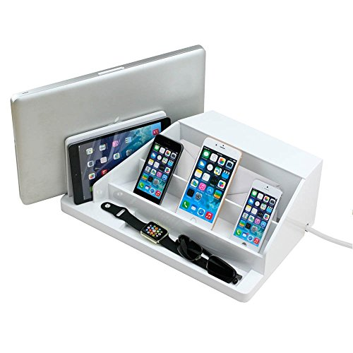 G.U.S. All-In-One Charging Station, Valet, and Desktop Organizer - Multiple Finishes Available. For Laptops, Tablets, Phone and Wearable Technology - White High Gloss
