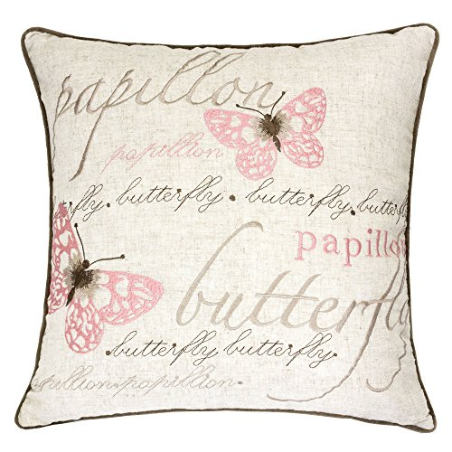 Butterfly Garden Decorative Pillow - Homey Cozy Embroidered Linen Throw Pillow Cover, Decorative Square Couch Cushion Pillow Case Irenee Chic Butterfly Garden 20 x 20 Inch, Cover Only