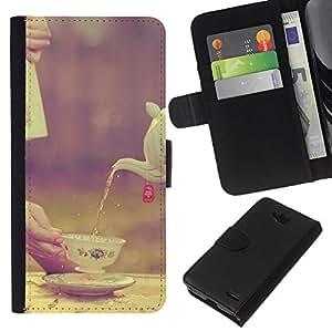 EJOY---La carpeta del tirón la caja de cuero de alta calidad de la PU Caso protector / LG OPTIMUS L90 / --Copa Porcelana Vignette Alimentaria británica