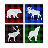 Plaid Wilderness Animals Silhouette 4 x 4 Inch Tabletop Coasters Gift Boxed Set of 4