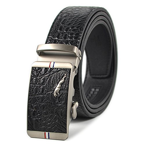 Men's Ratchet Dress Belt Alligator Leather Belt 44-46 inches with Automatic Buckle (Black)
