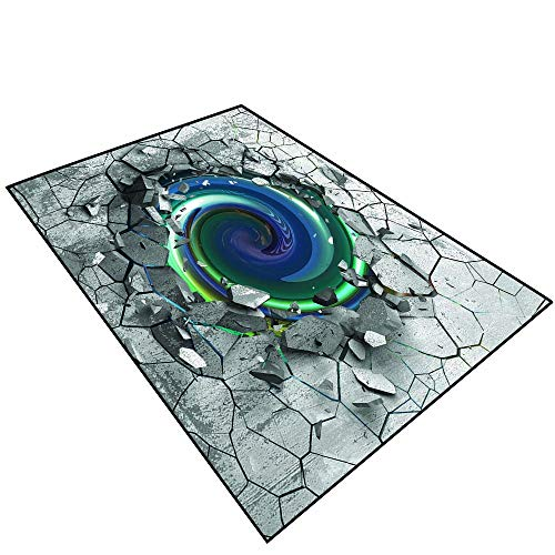 - 3D Area Rug Non-Slip Doormat Carpet 3D Effect of The Trap Vortex.Dark Cracked Broken Hole in Concrete Wall.040 (3) Size Non-Slip Area Rug Indoor