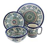 Blue Rose Polish Pottery Bluebell 4 Piece Dinner Set