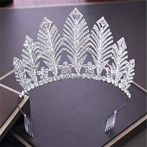 - FUMUD 3.5'' Vintage Silver Crystal tiara Wedding Big Crown For Bride Hair Accessories Alloy Rhinestones Queen Crown Hair Jewelry