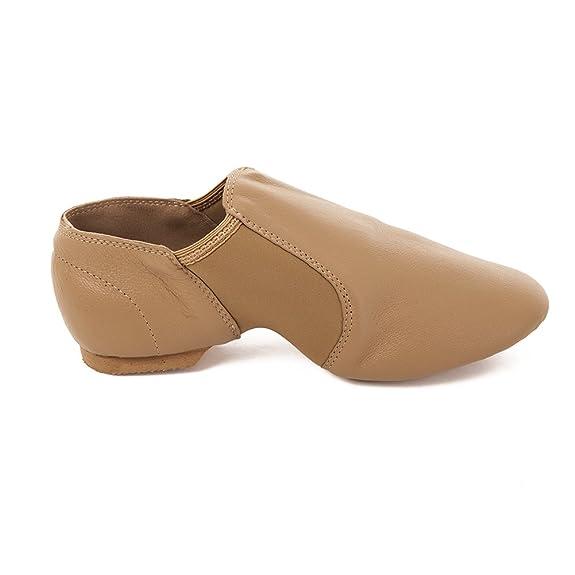 Amazon.com | Factory Second Tan Slip On Split Sole Full Grain Leather Jazz  Shoe with Neoprene Inserts | Ballet & Dance