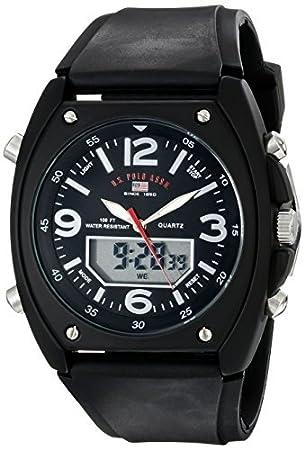 Hombres US9052 Analógico-Digital Negro Dial Negro correa de caucho reloj