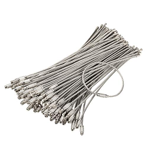 bayite Pack (100) Stainless Steel Wire Keychains Cable, Key Rings, Heavy Duty Luggage Tags Loops Tag Keepers 2mm Twist Barrel (Cable Length: 6 inches) (Cable Ring Size 6)