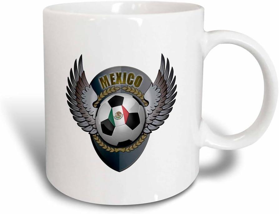 3dRose México - Taza de fútbol con Escudo del Equipo de fútbol Mexicano (cerámica, 10,16 x 7,62 x 9,52 cm), Color Blanco y Negro