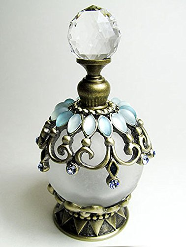 Antique refillable perfume bottle embossed decoration with rhinstone screw cap and rod.