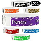Goldistock 3/4'' Tyvek Wristbands Variety Pack 3,500 Count- Monday (Black), Tuesday (Orange), Wednesday (Gold), Thursday (Purple), Friday (Red), Saturday (Blue), Sunday (Green)