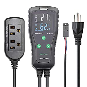DIGITEN Pre-Wired Electronic Humidity & Temperature Controller, Dual Stage Outlet, with Temperature and Humidity Sensor…