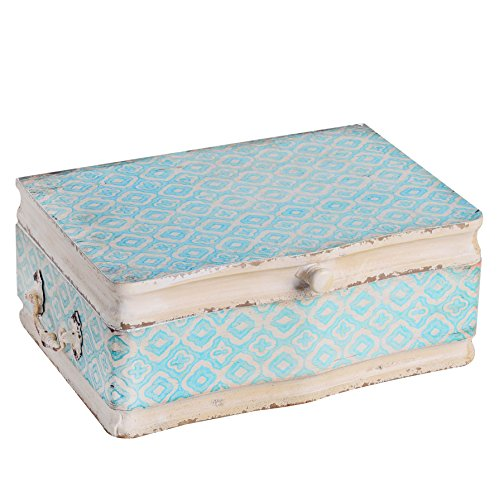(NIKKY HOME Vintage Decorative Wood Case Keepsake Storage Box with Handle and Hinged Lid, 13 x 9.1 x 4.9 Inches, Pale Blue and Ivory)