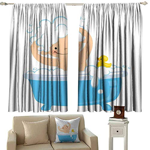 Decorative Curtains for Living Room Nursery Baby Boy with Smiley Face Having Bubble Bath with Rubber Duck Kids Theme Art Tie Up Window Drapes Living Room W55 xL72 White and Blue -