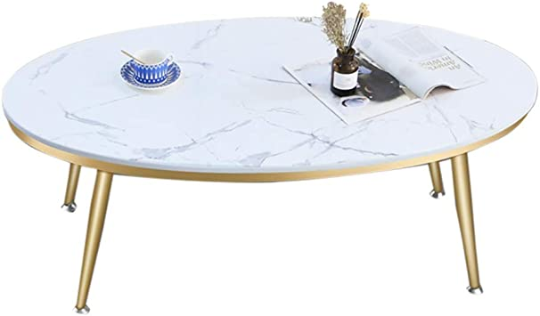Amazon Com End Table Oval Modern Living Room Coffee Table Faux Marble Top With Metal Frame For Office Guest Reception White Furniture Decor