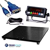 "PrimeScales Heavy Duty 48""x48"" Industrial Floor Scale PS-10000F & Indicator – Accurate Digital Pallet & Warehouse Scales, Rechargeable Battery, Built-In Smart Data Function & Calibration Certification"