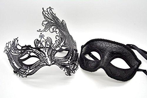 Couple Men Women Black Laser Cut Filigree Glitter Venetian Masquerade Mask by ACCmall