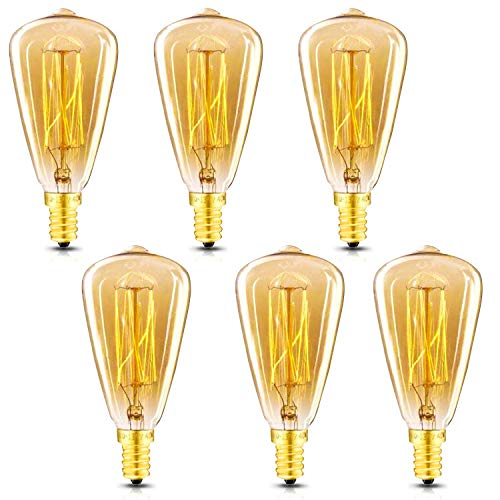 Vintage Edison Light Bulbs, E12 Candelabra Light Bulbs, 60W Dimmable incandescent bulb, 110-130v, Amber Warm, ST48 Squirrel Cage Filament Edison Bulb for Home Office Light Fixtures Decorative 6-Pack