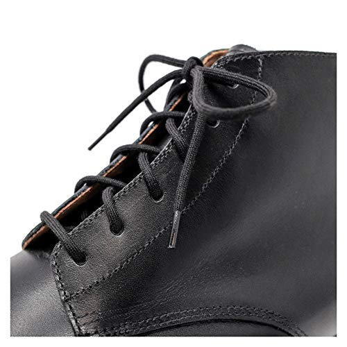 Black Shoelaces [2 Pairs] 100% Cotton Made in Italy Rounded ()