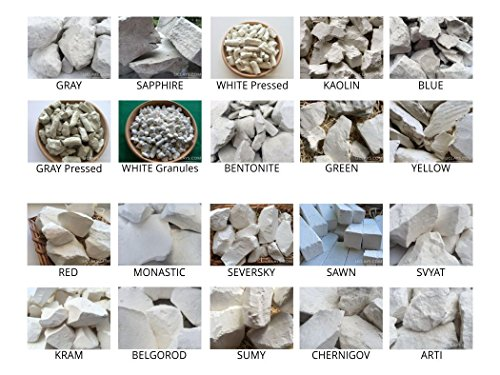 Set of samples of ALL TYPES edible natural CHALK & CLAY chunks for eating, 20 species (Total 2 lb / 900 g) by Uclays