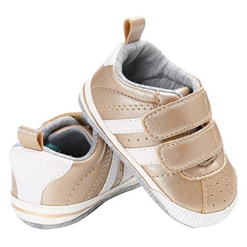 EOZY Babyschuhe Unisex Baby Lauflernschuhe Turnschuhe Streifen Krabbelschuhe für 0-18 Monate Gold