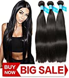 Cheap Ladiary 8A 3 Bundles 18 20 22 inches Brazilian Straight Hair Unprocessed Virgin Human Hair Natural Color 1b can be dyed