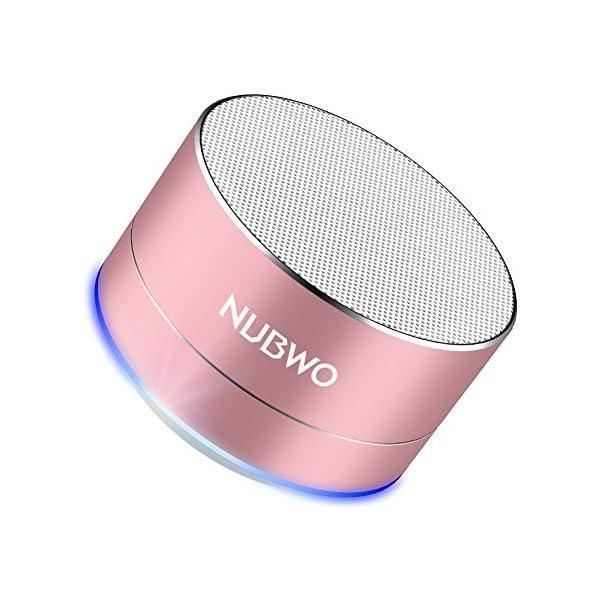 Enceinte Bluetooth, NUBWO A2 Enceinte Bluetooth Mini Portable de Voyage, Enceinte sans Fil avec des Basses Enforcées et des Appels en Mains Libres, Fonctionne avec iPhone, iPad, Samsung – Or Rose 1
