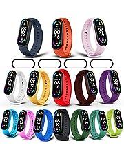 Milomdoi [19 eenheden] 15 kleurrijke armband + 4 stuks beschermfolie voor Xiaomi Mi Band 6/Mi Band 5, sport reserveband horlogeband compatibel silicone verstelbaar (15 kleuren)