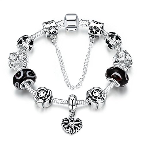 Price comparison product image Gorgeous Jewelry DIY Diamond Accented Rose Flower Silver Heart Pendant Black Crystal Beaded Bracelet