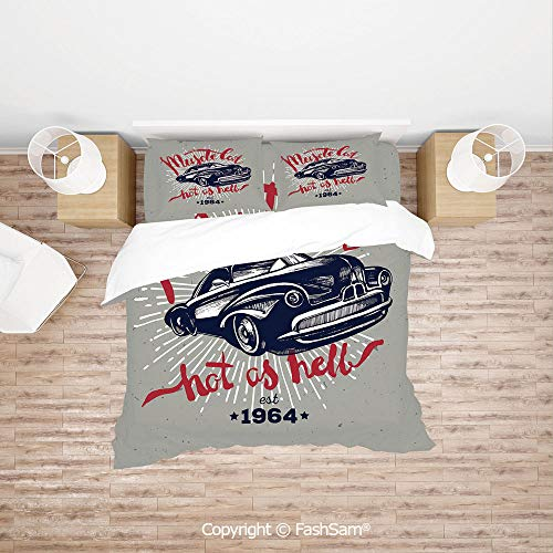 FashSam Duvet Cover 4 Pcs Comforter Cover Set Hot as Hell Muscle Car Quote Classic Vintage Sports Car in Navy Blue for Boys Grils - Royal Navy King Sea
