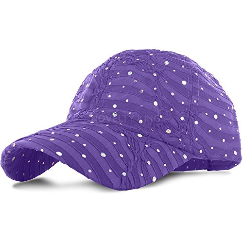 Purple_100% Polyester Glitter Baseball Cap Golf Hat Rhinestone (US Seller)